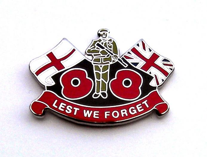 Remembrance Day Poppy lapel Badge with England flag and Union Jack